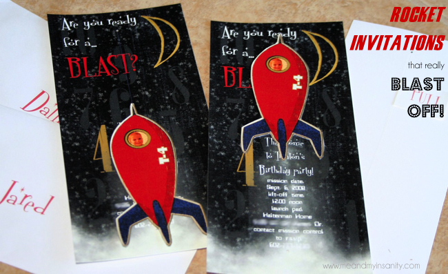 DIY Rocket invitations for a Space Birthday party that actually move!