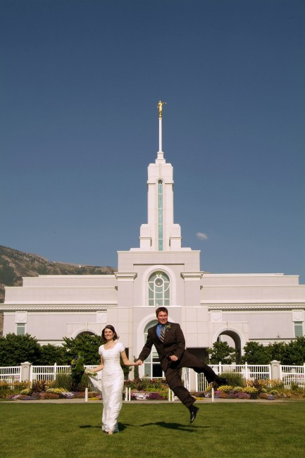fun temple wedding picture