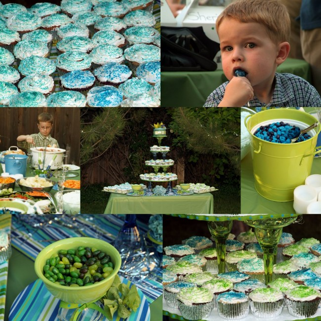 green and blue wedding cupcakes