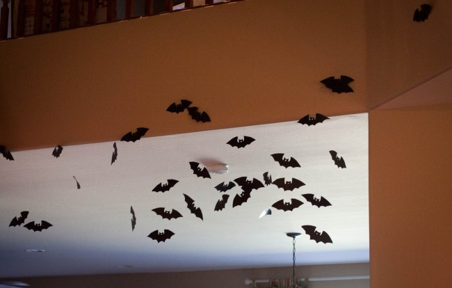 bats on fishing line for Halloween