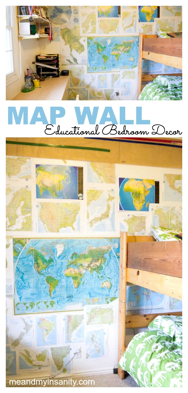boys room map wall