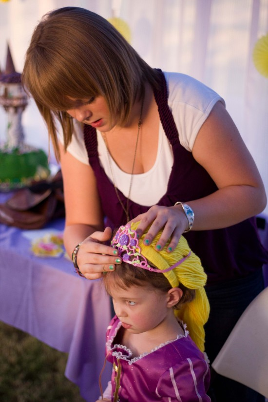 braiding Rapunzel's hair
