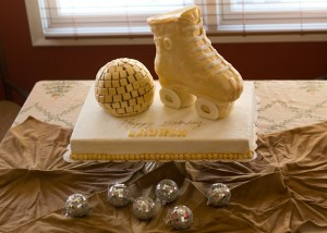 3D Roller Skate and Disco Ball Cake