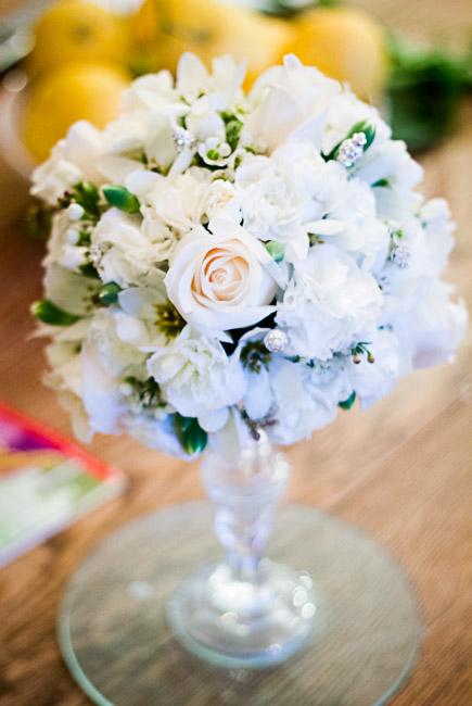 flower arrangement on candle holder-6106