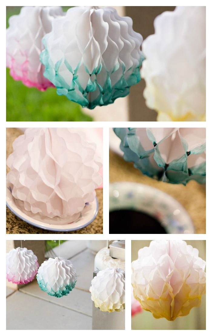 Dyed paper puffs decorations