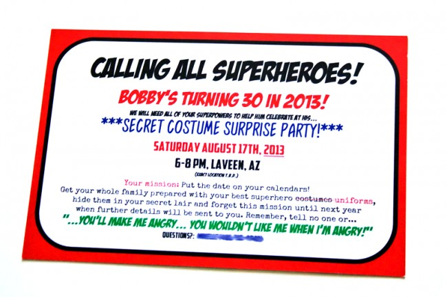 Superhero Party Save the Dates