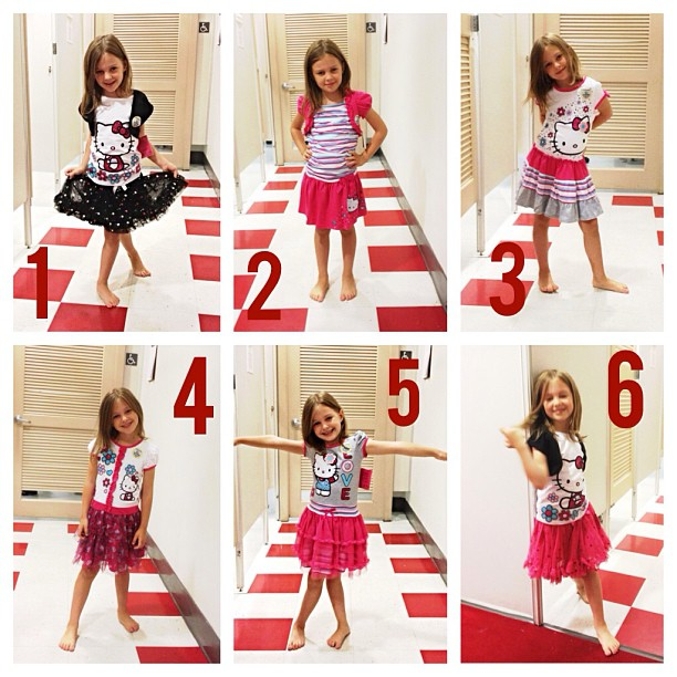 six Hello Kitty outfits
