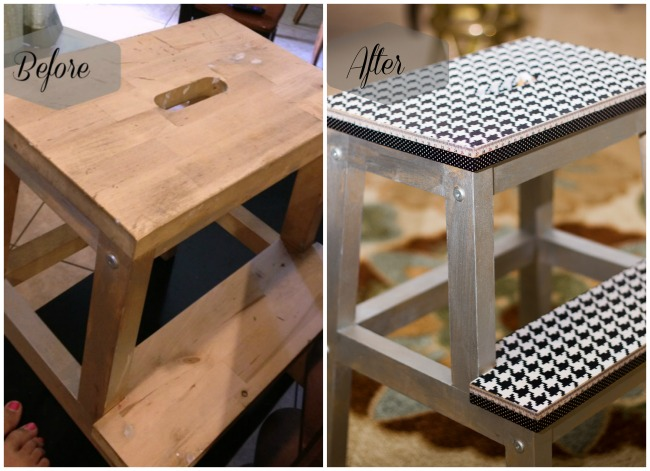 IKEA Stool makeover before after