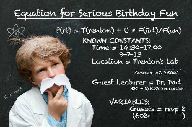 Trenton's Science b-day invitation blog