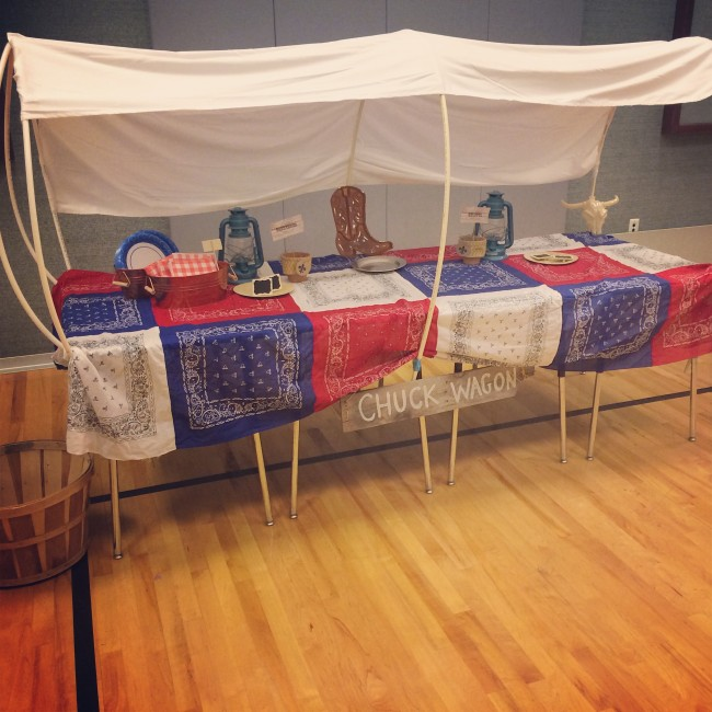 DIY wagon table for western party