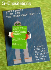 3D Robot Invitations