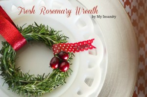 Fresh Rosemary Wreath for Christmas Dinner